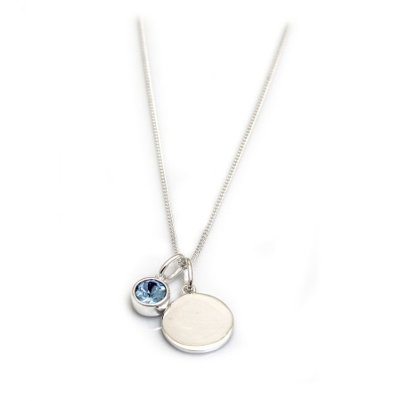 March Birthstone - Aquamarine CZ & Silver Disc Necklace
