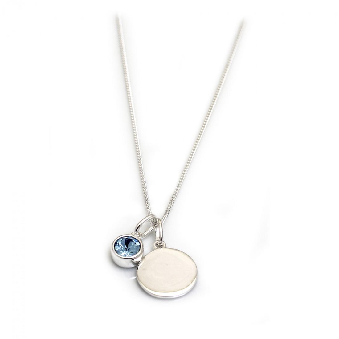 March Birthstone - Aquamarine CZ  & Silver Disc Necklace
