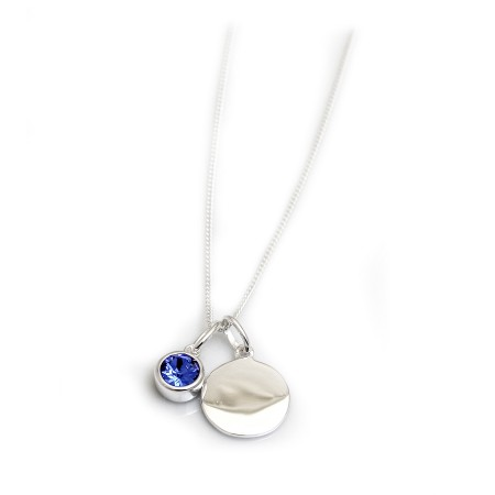 September Birthstone - Sapphire Blue CZ & Silver Disc Necklace