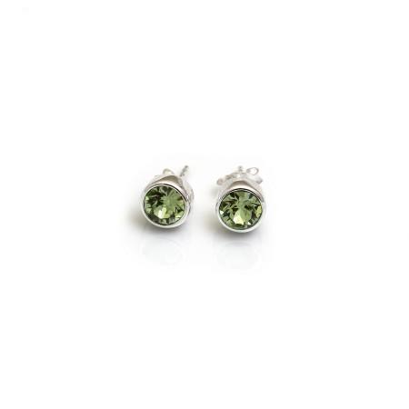 August Birthstone - Sterling Silver & Peridot CZ Stud Earrings