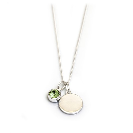 August Birthstone - Peridot CZ & Silver Disc Necklace
