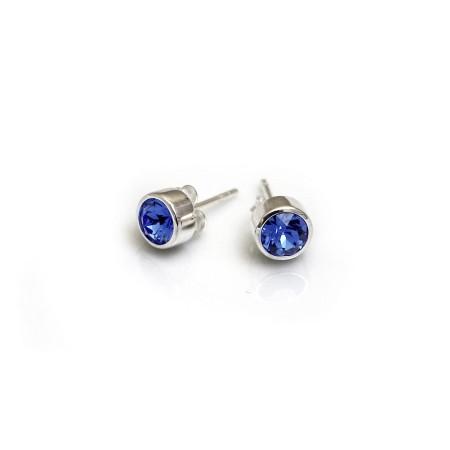 September Birthstone - Sapphire Blue CZ Stud Earrings