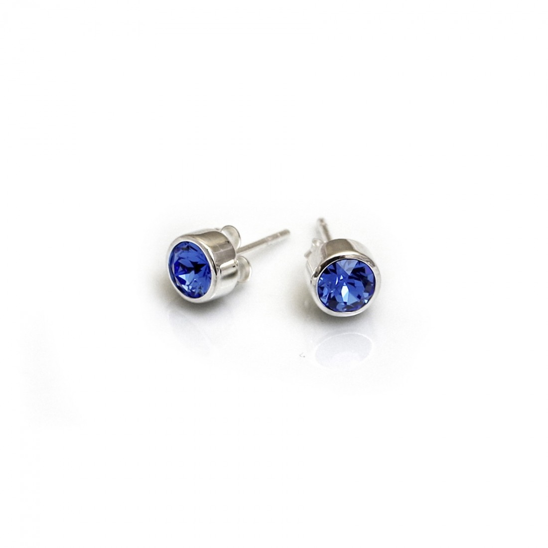 September Birthstone - Sapphire Blue CZ Stud Earrings