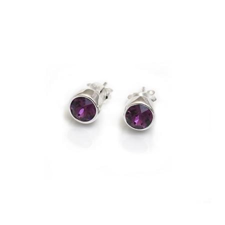 February Birthstone - Amethyst CZ Stud Earrings