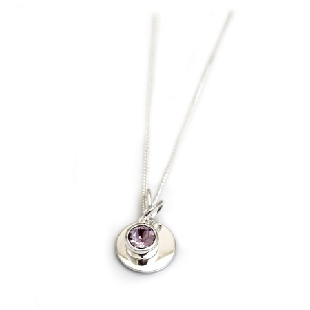June Birthstone - Light Amethyst CZ & Silver Disc Necklace