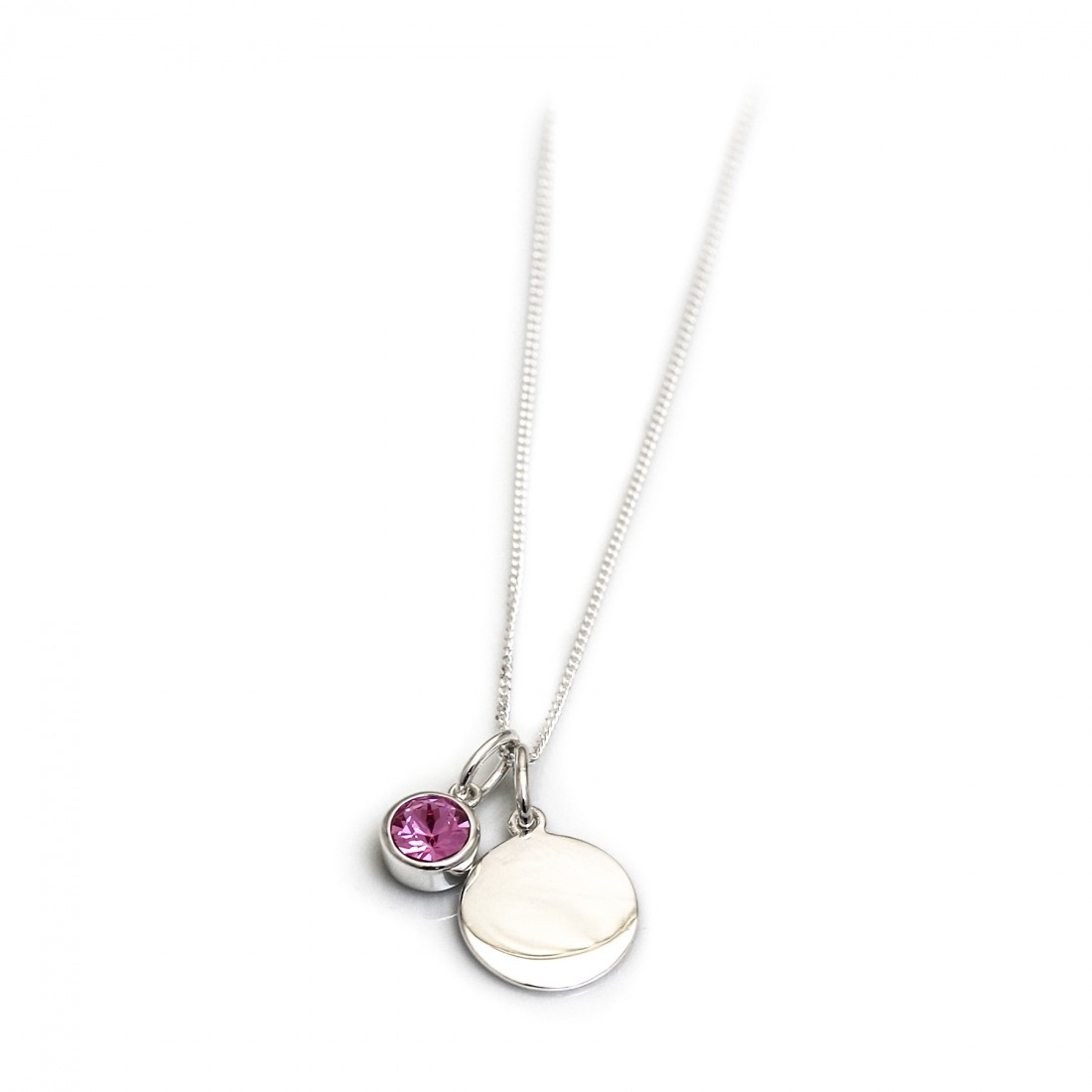 wholesale to buy shopping October Birthstone - Sterling Silver & Rose CZ Silver Disc ...