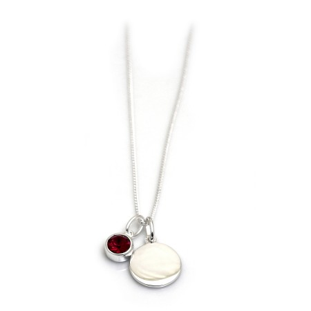 July Birthstone - Ruby CZ & Silver Disc Necklace