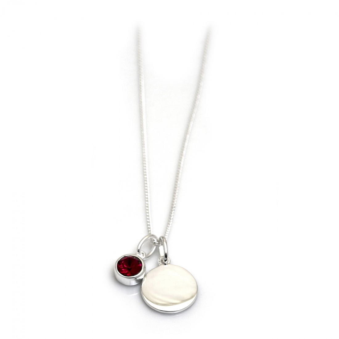 July Birthstone - Ruby CZ & Silver Disc Necklace