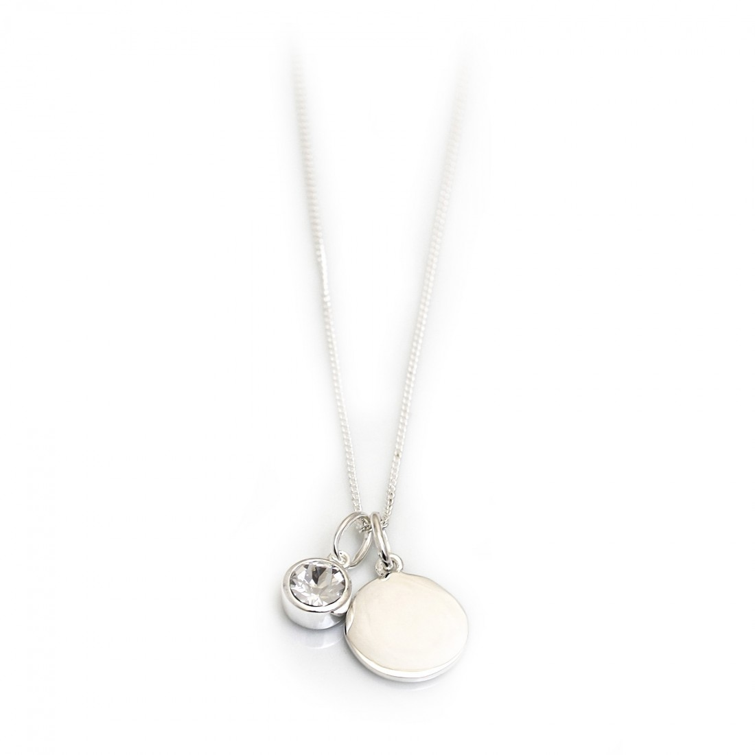 April Birthstone -  Clear CZ & Silver Disc Necklace