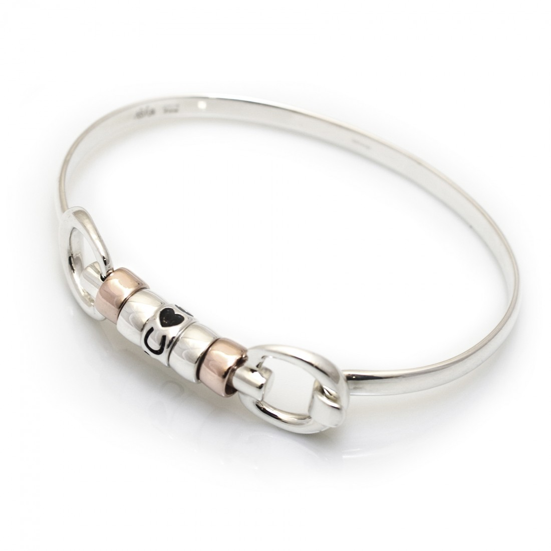 Exclusive Sterling Silver & 18ct Rose Gold Plate Cherry Roller Snaffle Bangle With Hearts and Horseshoes Roller Bead