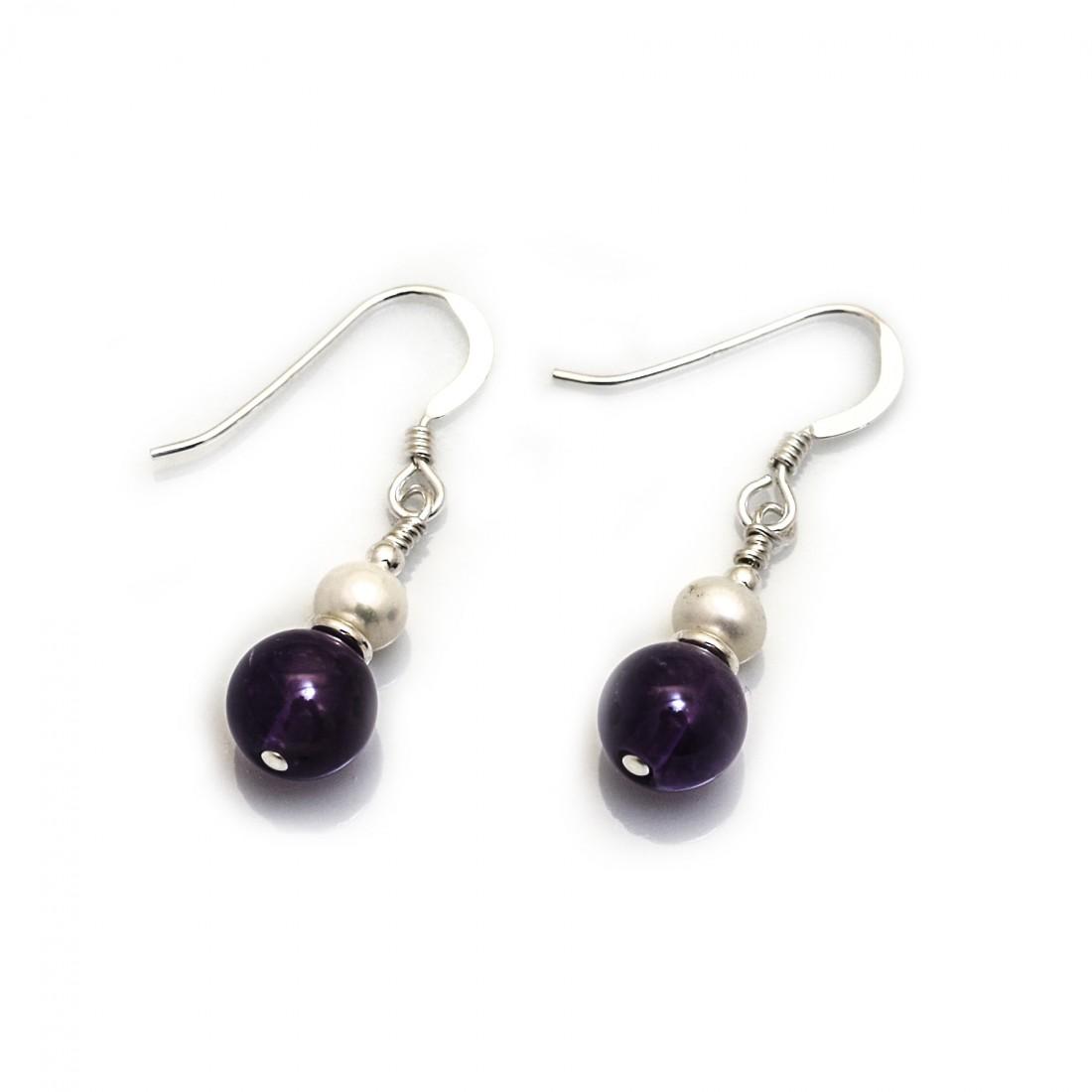 Hiho Handmade - Amethyst & Freshwater Pearl Dangly Earrings