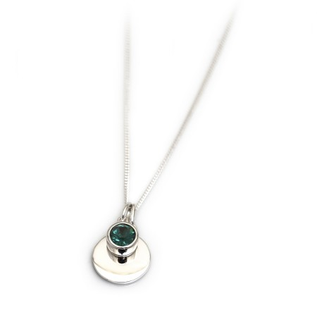May Birthstone - Green CZ & Sterling Silver Disc Necklace