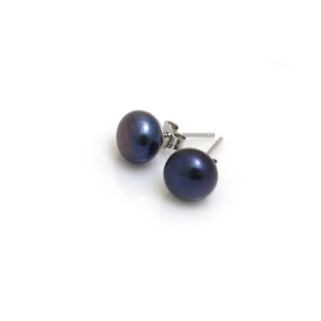 8mm Peacock Blue Freshwater Pearl Studs