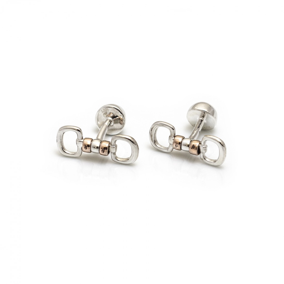 Exclusive Sterling Silver & 9ct Rose Gold Cherry Roller Cufflinks
