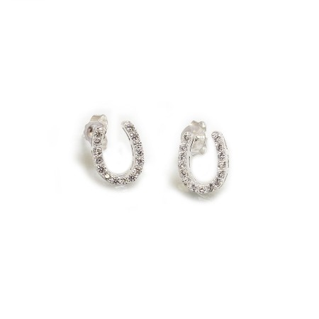 Sterling Silver & CZ Horseshoe Stud Earrings