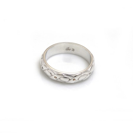 Exclusive Sterling Silver & CZ, Noughts & Crosses Ring