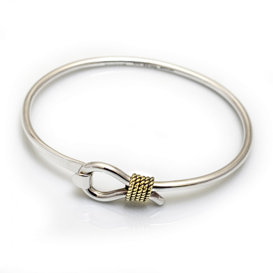 Sterling Silver & Two Tone Lasso Clip Bangle