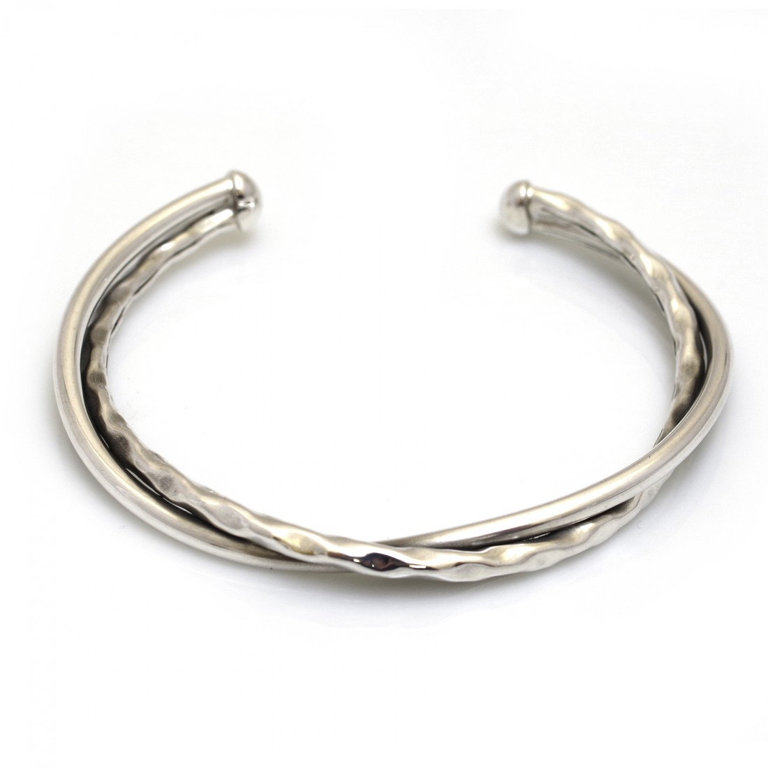 Sterling Silver Hammered & Plain Twisted Cuff Bracelet