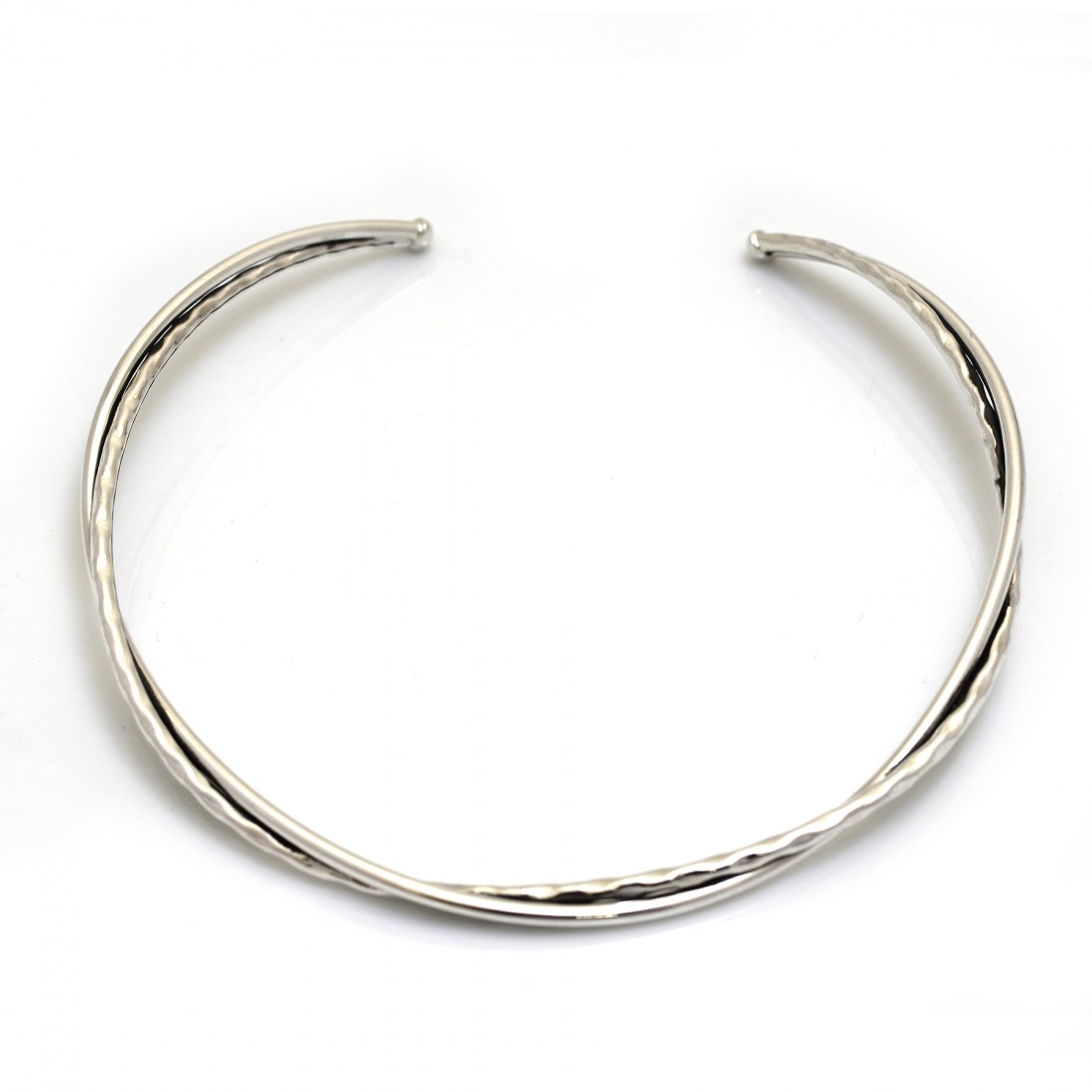 Sterling Silver Hammered & Plain Twisted Cuff Necklace
