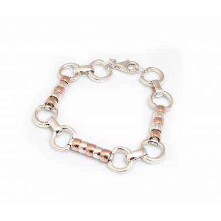 Exclusive Sterling Silver & 18ct Rose Gold Plated Complete Cherry Roller Bracelet