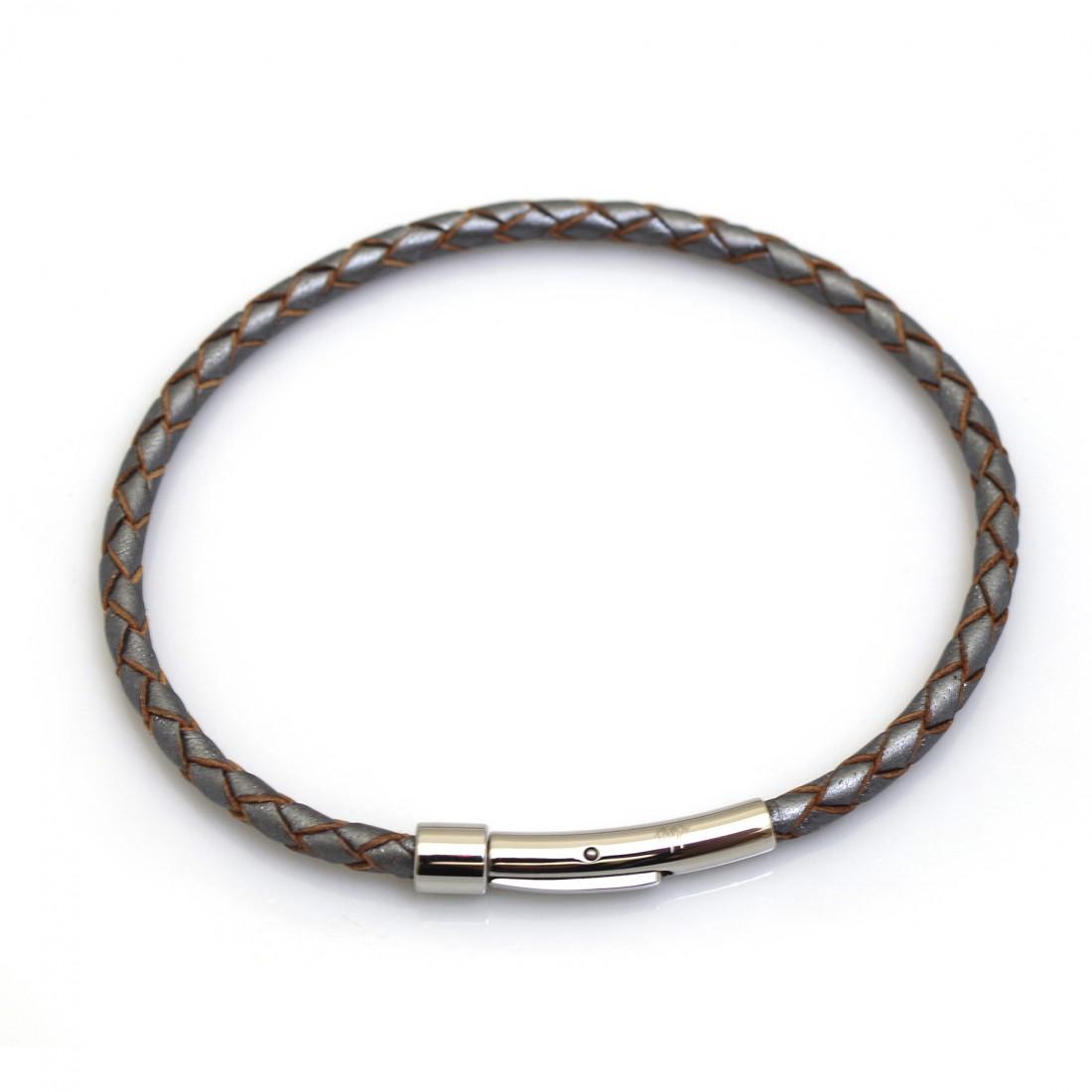 Single Fox Plait Leather Bracelet