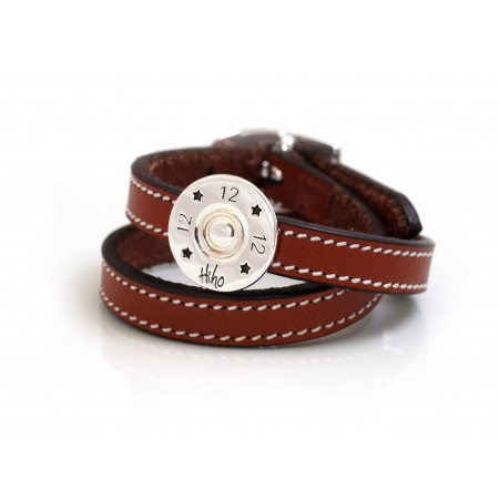 Exclusive Sterling Silver 12 Bore Shotgun Cartridge Rider On Double Leather Strap - Shooting Jewellery