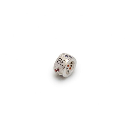 Exclusive British Eventing Sterling Silver & Red, White & Blue CZ Roller Charm Bead