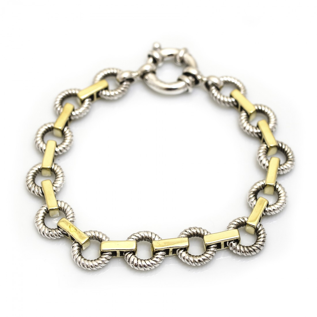 Sterling Silver Rope Circles Two Tone Bracelet