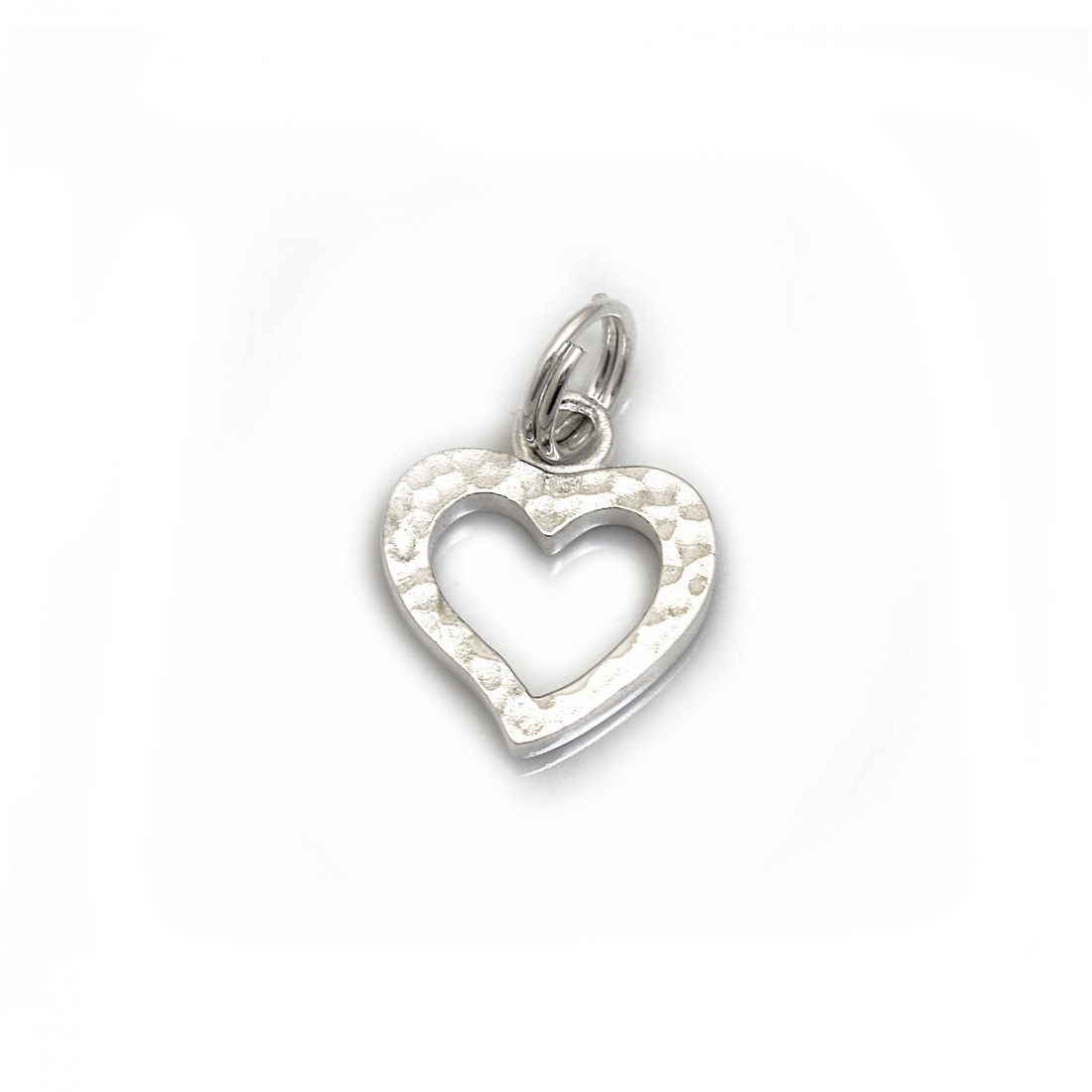 Sterling Silver Hammered & Plain Heart Charm