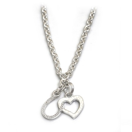 Exclusive Sterling Silver Heart & Horseshoe Cluster Necklace