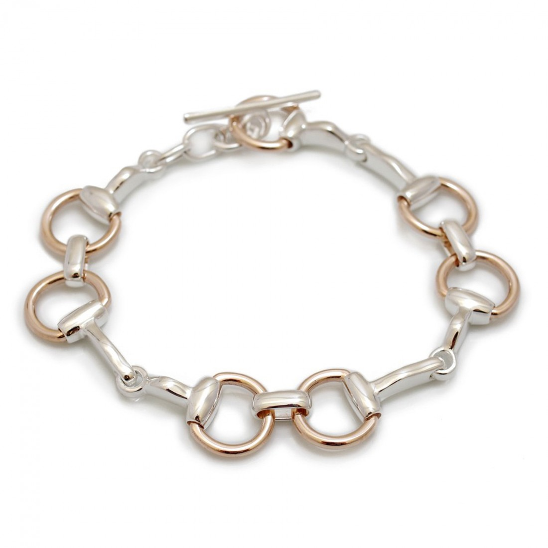 Exclusive Sterling Silver & 9ct Rose Gold Snaffle Bracelet