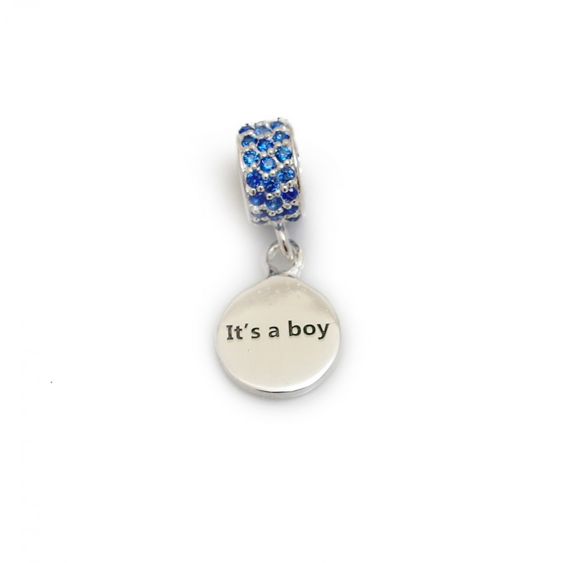 Exclusive Sterling Silver & Royal Blue CZ 'It's A Boy' Roller Charm Bead