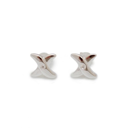 Exclusive Sterling Silver & CZ Cross Stud Earrings