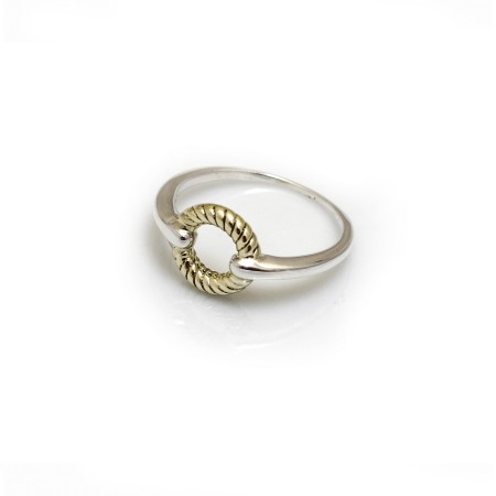 Sterling Silver & Two Tone Rope Circle Ring