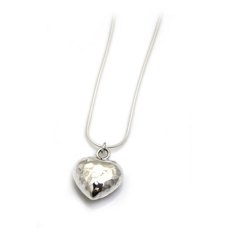 Sterling Silver 3D Hammered Heart Pendant With Chain