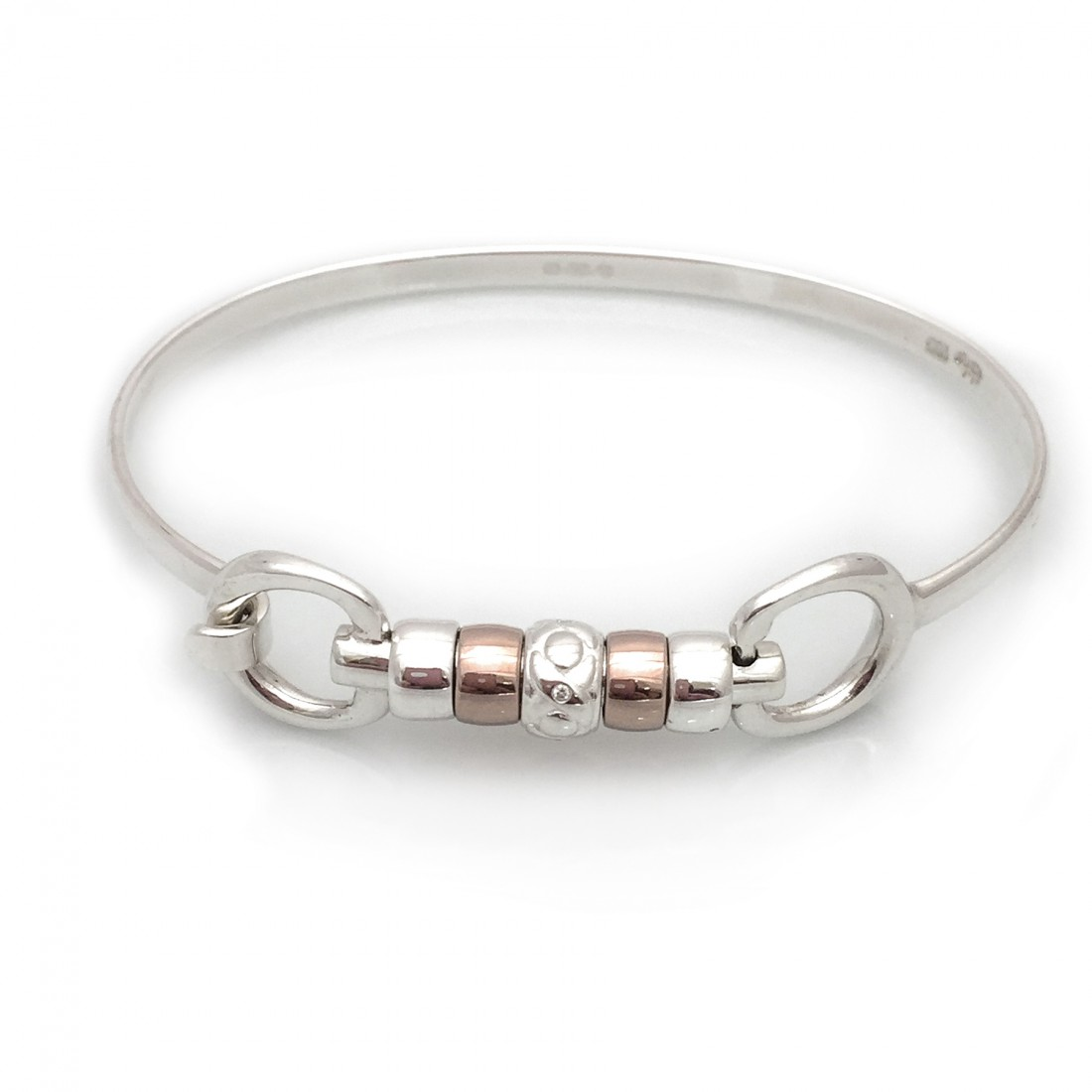 Exclusive Sterling Silver & 18ct Rose Gold Plated Cherry Roller Snaffle bangle With CZ Noughts & Crosses Roller Charm Bead