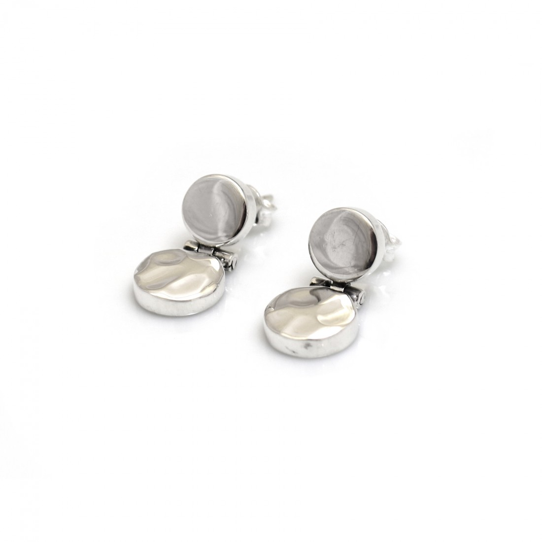 Sterling Silver Hammered & Plain Disc Dangly Earrings
