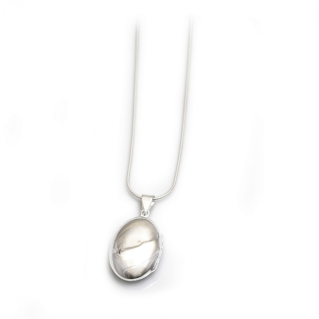 Sterling Silver Oval Locket With Snake Chain