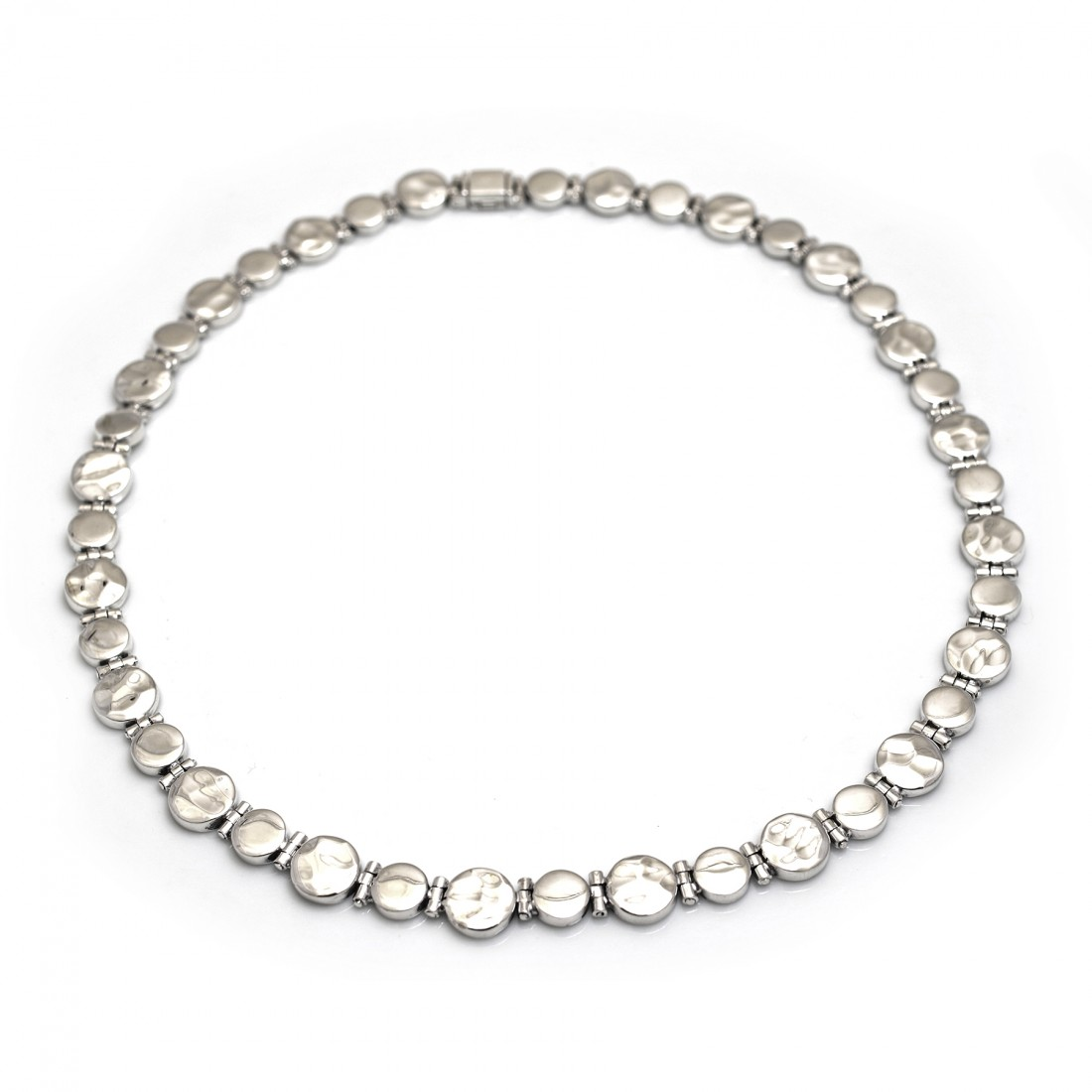Sterling Silver Hammered & Plain Disc Necklace