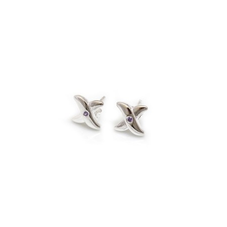 Exclusive Special Edition, Sterling Silver & Amethyst Cross Stud Earrings