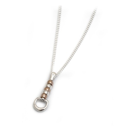 Exclusive Sterling Silver & 18ct Rose Gold Plated Cherry Roller Pendant With Chain