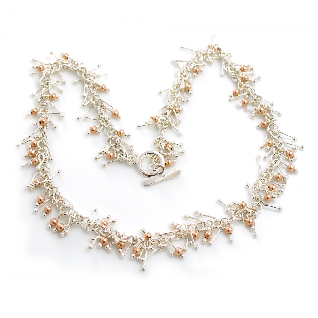 Sterling Silver & 18ct Rose Gold Plated Matchstick Jingle Necklace