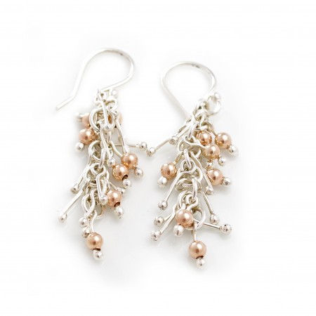 Sterling Silver & 18ct Rose Gold Plated Matchstick Jingle Earrings