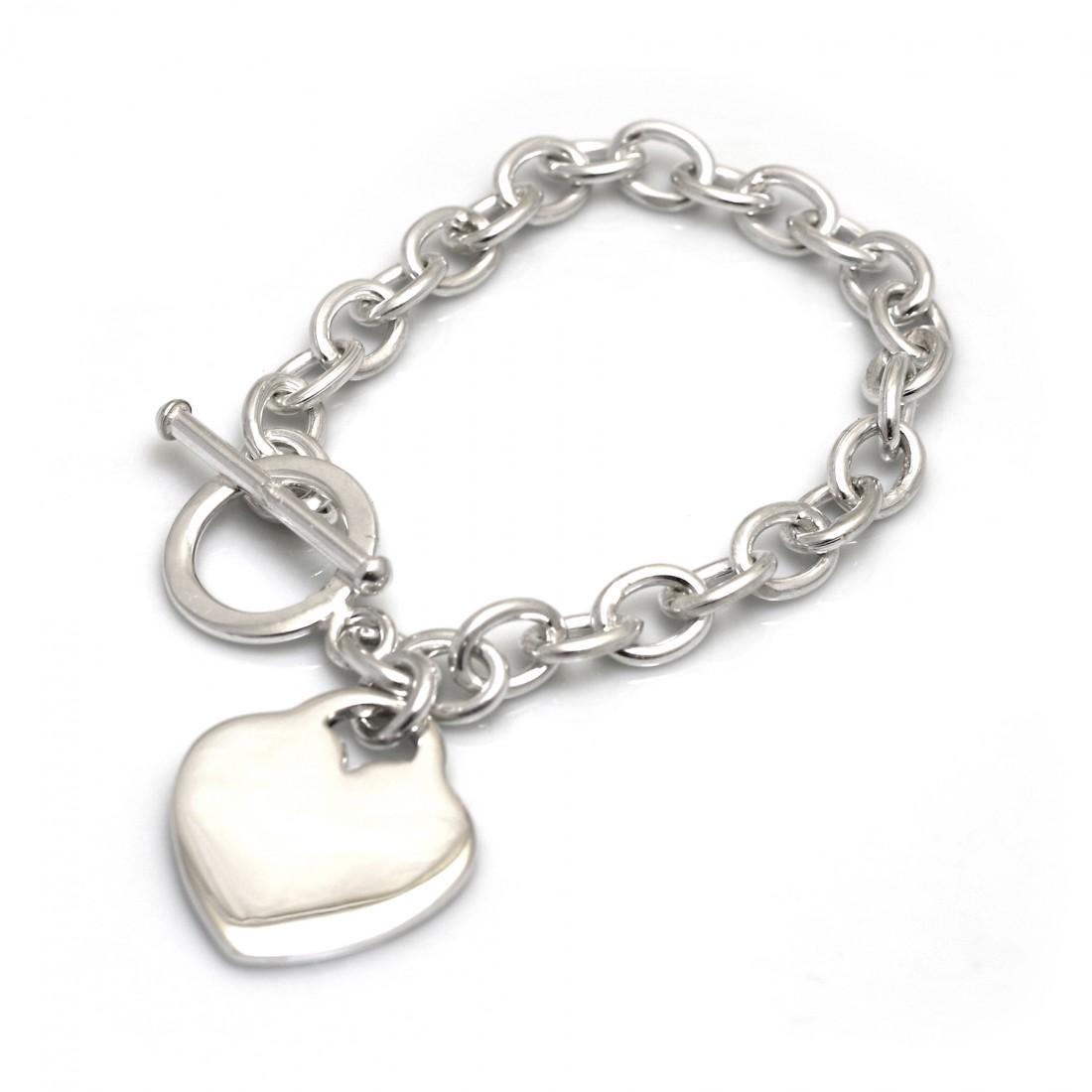 Flat Heart Sterling Silver Fob Bracelet