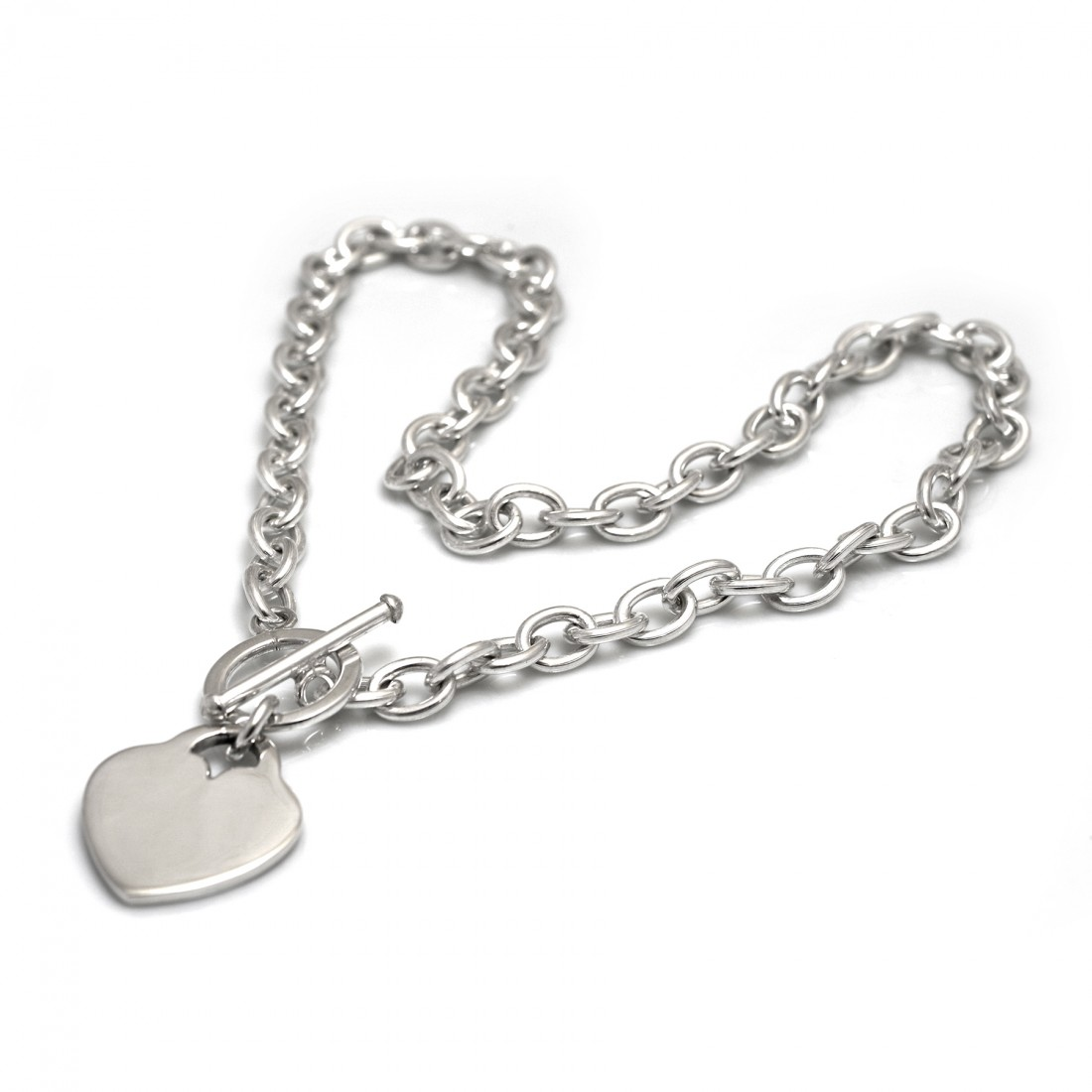Chunky Flat Heart Sterling Silver Fob Necklace