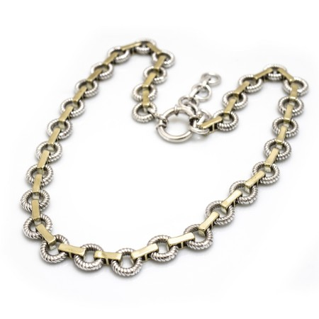 Sterling Silver Rope Circles Two Tone Necklace
