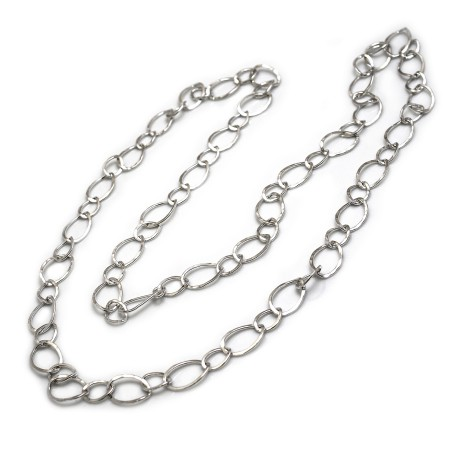 Sterling Silver Hammered Ovals Long Necklace