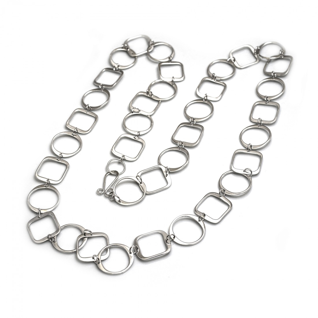 Sterling Silver Circles & Squares Long Necklace