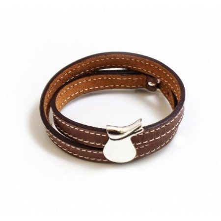 Sterling Silver Saddle Rider On Double Wrap Leather Bracelet - Equestrian Jewellery