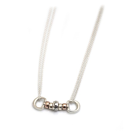 Exclusive Sterling Silver & 18ct Rose Gold Plated Cherry Roller Necklace With Letter Bead
